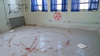 (ABANDONED SCHOOL)  SATANIC RITUAL Part 2 GHOST SLAMS DOOR SHUT