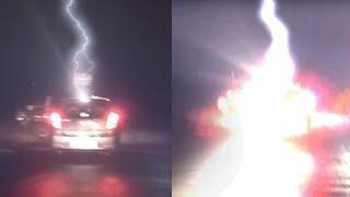 Car Struck By Lightning!! OMG Real Video Caught On Camera!!