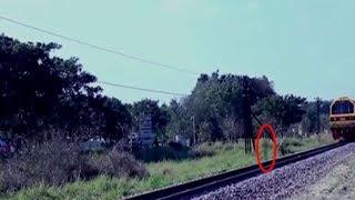 Scary Videos   Ghost Caught On Tape   Ghostly Shadow Caught On Railway Track