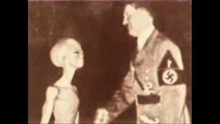 NAKED FEMALE ALIAN ON MOON NAZI BASE DID HITLER MEET GRAY ALIENS REAL PHOTO SHAKING HANDS?